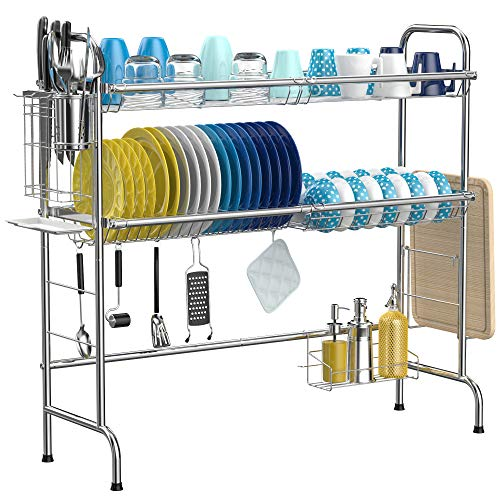 Over The Sink Dish Drying Rack, iSPECLE 2-Tier 201 Stainless Steel Dish Rack with Utensil Holder Hooks Stable Bend Foot...