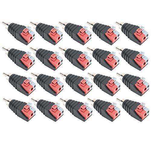 FILFEEL 20 Piezas 43 mm 1,7 Pulgadas Cable de Altavoz a Audio Macho RCA Conector Adaptador Jack Plug RCA a AV Terminal de Tornillo para CCTV/Audio/vídeo Conector RCA