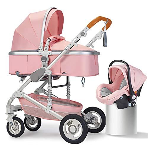 JIAX Sistema de viaje de bebé, cochecito de bebé 3 en 1, cochecito de bebé de alto paisaje, cochecito de bebé reversible, cochecito plegable con toldo ajustable (color rosa)