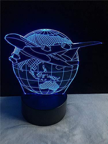 Flugzeug Erde Flugzeug 3D Tischlampe Kinder Spielzeug Geschenk LED Kreative Kinder Home Klassenzimmer Dekoration Beleuchtung USB Multicolor Schlafzimmer Nachtlicht