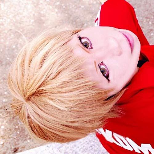 SSXZ Haikyu!! Volleyball Morisuke Yaku Short Linen Blonde Heat Resistant Hair Cosplay Costume Fashion wig + Track + Fashion wig Cap