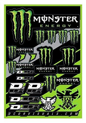 Monster Energy Aufkleber-Bogen, 19 Aufkleber, 40 – 90 – 102 cm, für Motorrad, Scooter