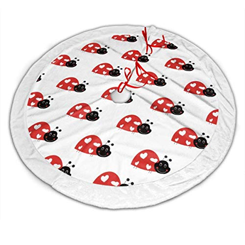wonzhrui Lass with Ladybug Stripes Christmas Tree Skirt Plush Border for Christmas Decorations, Holiday Decorations, Indoor and Outdoor Home Decor Gifts (es)(36 Inch)