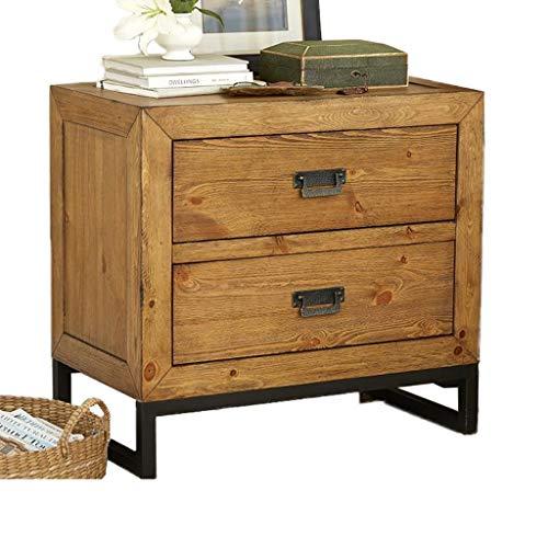 Pin Rétro Table De Chevet Chambre Salon Casier Petit Espace Table D'appoint Meubles en Bois Cadre en Métal (Color : C)