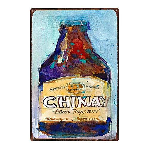 ADFGUYI Botella de Cerveza Letrero de Metal Vintage Cartel de Chapa Bar Café Garaje Cartel de Pared Art Deco Placa de Hierro 20x30cm 24