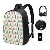 Rucksack mit USB-Schnittstelle Travel Laptop Backpack with USB College School Computer Bag Gifts for Women & Men Fits Christmas Wallpapers 038