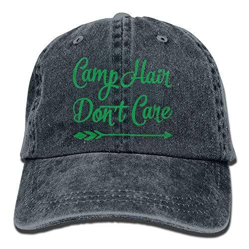 Dyfcnaiehrgrf Gorra de béisbol para hombres y mujeres, Camp Hair Don T Care 2-1 Unisex algodón ajustable Denim Cap Hat