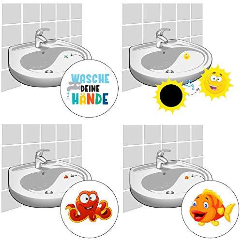 LK Trend & Style 8 stickers voor tegels en wastafels handwas sticker wassen je handen + zon + krake + vis