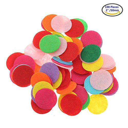 Akoak 100pezzi misti colori assortimento 5,1cm/50mm rotonda feltro cerchi feltrini per fai da te e cucito artigianale