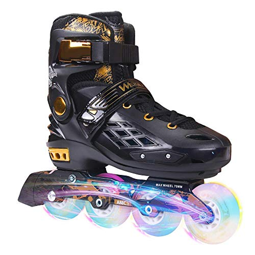YF YOUFU Adjustable Inline Skates for Boys/Girls/Adult, Roller Skate/Blades with Triple Protection, Front Foot Shield, Hard PU Wheels, Patines with Light-up Wheel for Youth, Men, Women