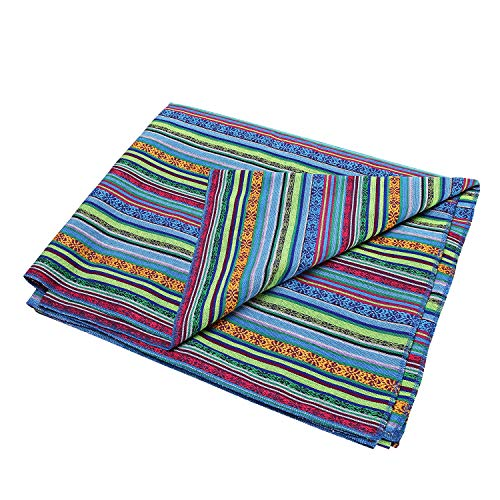 LGHome Yoga Blanket Mexican Serape Blanket Green 60x72inch Mexican Falsa Blanket for Living Room, Car Seat Cover, Beach, Picnic