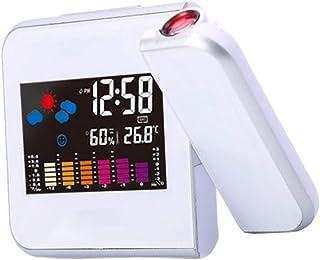 homozy LED 180 ° Relógio Despertador Previsão Do Tempo Umidade Termômetro Projeção Digital - Branco