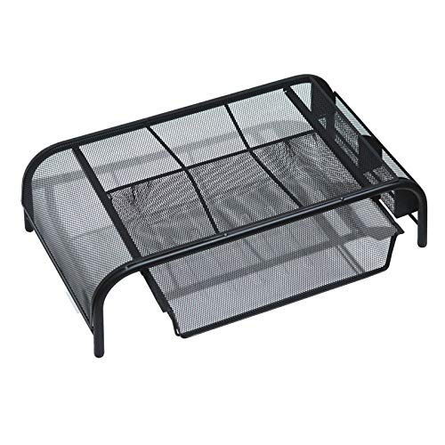 VANOLU Mesh Monitor Stand, Computer Desk Mat, with Pull-Out Drawer and Side Compartments, Desktop Storage, Black