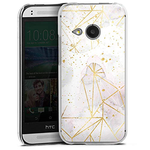 DeinDesign Hard Case kompatibel mit HTC One Mini 2 Schutzhülle transparent Smartphone Backcover Marmor Glitzer Look Gold & Kupfer