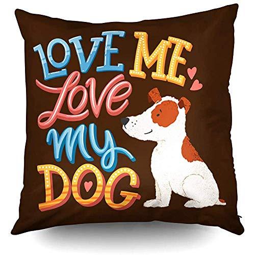 Ducan Lincoln Pillow Case 2PC 18X18,Halloween Kissenbezüge,Throw Square Kissenbezug,Baumwolle Kissenbezüge Love Me Love My Dog Hand Zeichnen Beide Seiten Druck...
