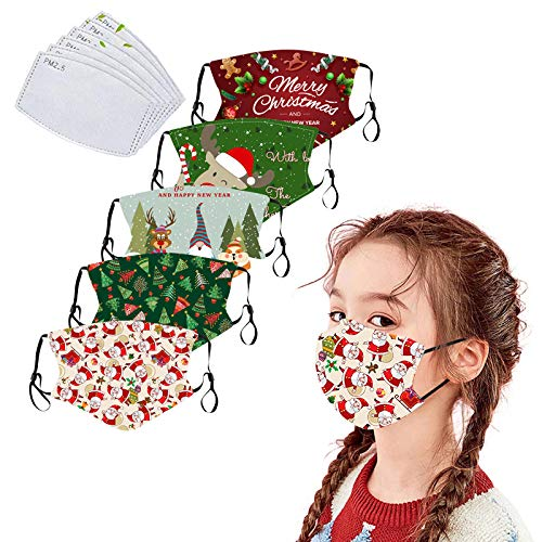 5Pack Christmas Cotton Dustproof for Children with Filter Pocket with 6 Pcs Replacement Filters-Washable Xmas Covering (A)