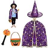 FORMIZON Capa De Mago De Sombrero, Disfraces De Halloween, Capa De Bruja con Bolsa De Caramelos, Infantil Capa, Juego De Roles Vestir para Unisex NiñOs NiñAs Disfraz De Cosplay Fiesta (Púrpura)