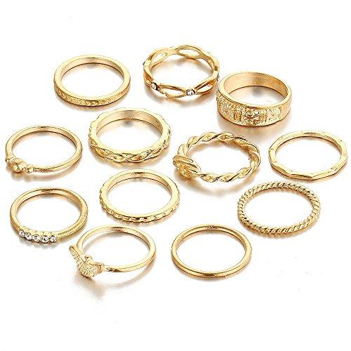 minjiSF Juego de 12 anillos finos de oro para mujer, bohemios, exquisitos, sencillos para el año, para fiestas, regalo, a la moda, para mujer, con personalidad, anillo apilable (dorado)
