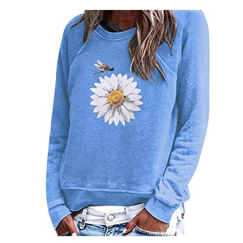 WMNU Women Sweatshirts Autumn Women Sunflower Printed O-neck Streetshirt Long-Sleeve Tops Pullover Sweatshirt Blue