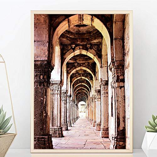 NLZNKZJ Marokkanische Tür Vintage Poster Dekoration, Wandkunst Leinwand Malerei Poster und Drucke Wandbilder für Wohnzimmer 60x90cm ohne Rahmen