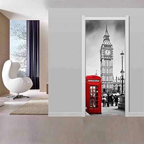 Door Wallpaper Self-Adhesive Door Film Door Poster 3D Bell Tower Door Wallpaper Mural Door Film Poster Wallpaper Removable Wall Wallpaper Living Room PVC Waterproof Wallpaper Wall Sticker 77 x 200 cm
