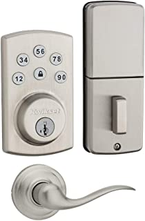 Kwikset 907 Powerbolt 2.0 Electronic Deadbolt Featuring SmartKey with Tustin Passage Lever (Satin Nickel) Bundle (2 Items)