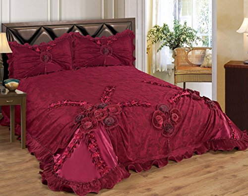 Empire Furniture USA 3 Piece Real 3D Comforter Set Bedspread Flower Ruffle Oversized Queen/King (Queen Size, Fionna Burgundy)