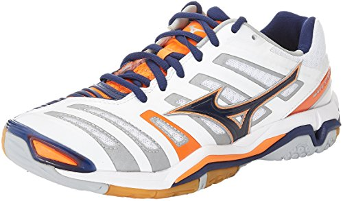 Mizuno Herren Wave Stealth American Handball Schuhe, Mehrfarbig (White/bluedepths/orangeclownfish), 45 EU