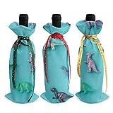 Bolsas de decoración para botellas de vino de dinosaurio prehistórico, para decoración de fiestas de vino de Navidad.