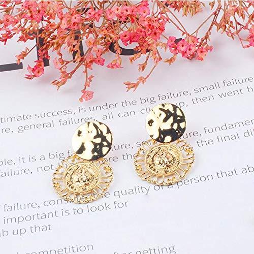 SSEHXL Pendientes Pendientes Flor de La Vendimia Creativa Moda Oro Color Placa de Metal Pendientes Grandes Bohemia Hollow Sun Flower Pendientes para Mujeres niña