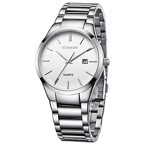 CURREN Men's Watches Classic Black/Silver Steel Band Quartz Analog Wrist Watch with Date for Man (Silver White)
