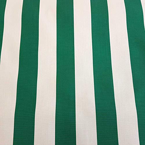 Tela para toldo por metros, diseño de rayas, color verde y blanco, resistente a los rayos UV, protección visual