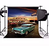 Yeele 4x4ft Retro Nostalgia 50S 60S Backdrop Vintage Eatery Dinner Motorcycle Car Party Banner Photography Background Girl Boy Adult Portrait Photo Booth Shooting Photocall Studio Props