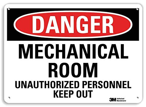 'Danger - Mechanical Room, Unauthorized Personnel Keep Out' Sign by SmartSign | 7' x 10' 3M Reflective Aluminum