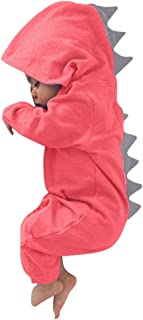 Infant Toddler Baby Girls Boys Dinosaur Hoodie Romper Zip Clothes Jumpsuit