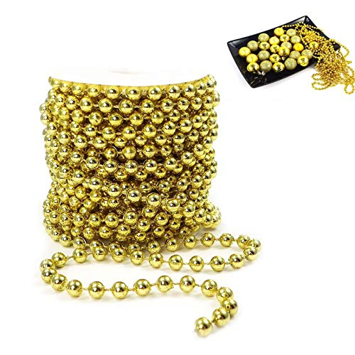 WELLXUNK Ghirlanda di Perline Albero di Natale, Artificiale Ghirlanda Fili Perline Catena di Perle Decorative Ghirlanda di Perle per Natale Decorazione di Matrimonio (d'oro)
