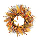 Corona de hoja de arce de otoño, Navidad Acción de Gracias Otoño Corona Ventana Restaurante Hogar Hoja de Arce Decoración Adornos Colgantes de Vacaciones