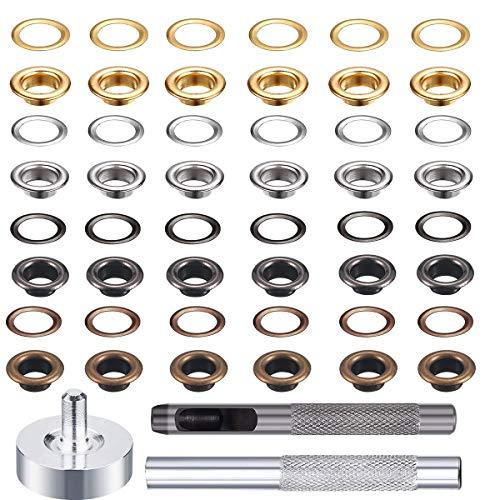 Ösen-Set, Metallösen-Set mit 3-teiligem Werkzeugset und Aufbewahrungsbox, 4 Farben, insgesamt 400 Stück.