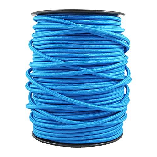 smartect Lampenkabel aus Textil in der Farbe Blue - 20 Meter Textilkabel - 3-Adrig (3 x 0.75mm²) - Textilummanteltes Stromkabel für DIY Projekt