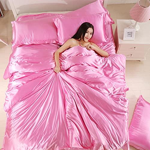Juego de sábanas 150x200-Conjunto de edredones de Seda de Color sólido de Color sólido de Calidad de Verano cómodo para Dormitorio-Rosa_1,8 m la Cama 4 Piezas