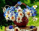 GenericBrands Pintar por Numeros para Adultos Niños Canasta de Flores y Flores DIY Pintura al Óleo Pintura por Números con Pinceles y Pinturas Decoraciones para el Hogar (40 x 50 cm Sin Marco)