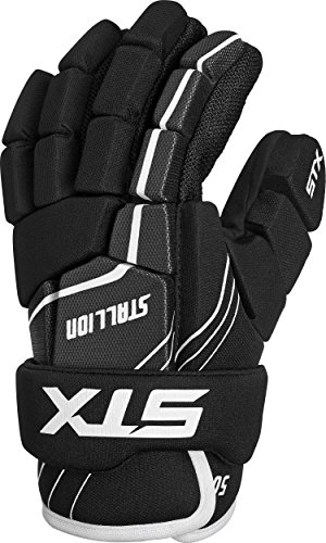 STX Lacrosse Stallion 50 Youth Gloves, Black, Medium