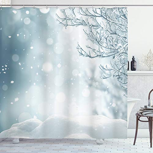 ABAKUHAUS Winter Duschvorhang, Weihnachtszeit-Baum-Schnee, mit 12 Ringe Set Wasserdicht Stielvoll Modern Farbfest & Schimmel Resistent, 175x200 cm, Blaugrau Weiß