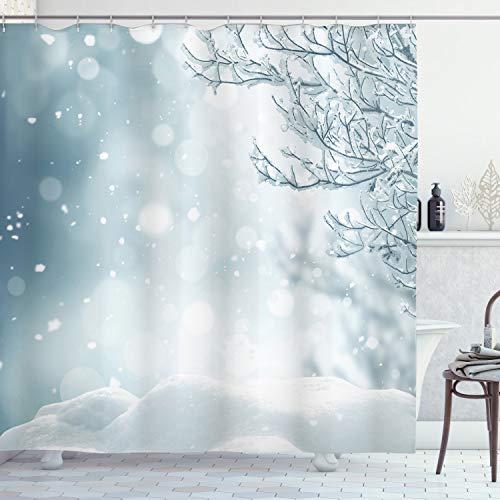 ABAKUHAUS Winter Duschvorhang, Weihnachtszeit-Baum-Schnee, mit 12 Ringe Set Wasserdicht Stielvoll Modern Farbfest & Schimmel Resistent, 175x240 cm, Blaugrau Weiß