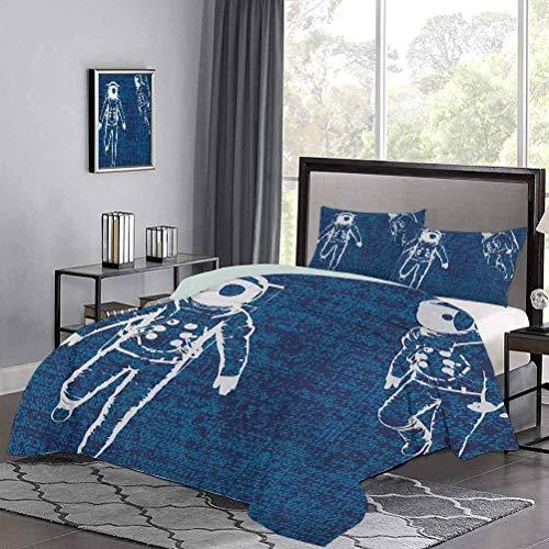 Yoyon Kinder-Quilt-Set Zwei Astronauten, die im blauen Raum schweben Zeichnung Universum Leere Leichtes Tröster-Etui-Set-Design ist sehr einfach und doch wunderschön Weiß Marineblau Dunkelblau