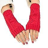 Kentop - Manoplas para mujer, cálidas, de punto, sin dedos, largas, con pulsómetro, color rojo