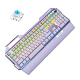 Haayward Gaming Mechanical Keyboard,107 Keys 7 Color RGB USB Alloy Esports with Mobile Phone Stand Volume Adjustment, with Function Key Ten Million Key Black Axis