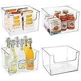 mDesign Juego de 4 cajas de almacenaje de alimentos – Organizador de nevera, armario o congelador con frontal abierto – Caja de plástico sin BPA para frigorífico – transparente