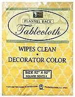 "Better Home Vinyl Tablecloth Orange Design Decorator Design Lightweight Flannel Backed (52""X52"" Square) [並行輸入品]"