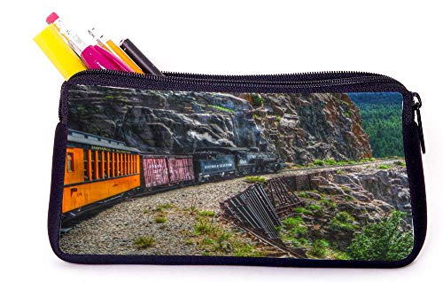 Vinage Grunge Train on Mountain Pencil Case for School Supplies for Office Supplies, Gameboy DS, MP3, or Makeup Supplies